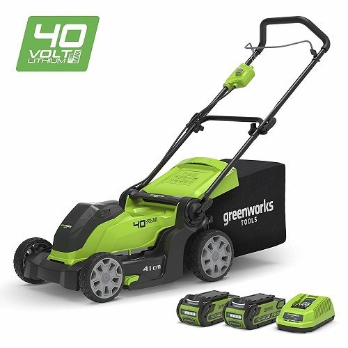 Der Greenworks 40V mit seinen Akkus
